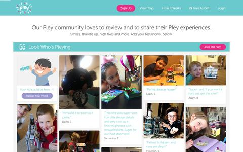 Screenshot of Testimonials Page pley.com - Pley reviews |  Pley | Rent the coolest toys including LEGO®, American Girl and other amazing toys - captured Feb. 19, 2016