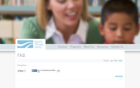 Screenshot of FAQ Page speechtherapyworks.ca - F.A.Q. - captured Sept. 30, 2014
