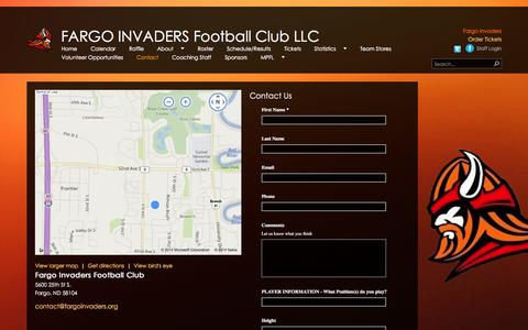 Screenshot of Contact Page fargoinvaders.org - Fargo Invaders Contact - captured Oct. 5, 2014