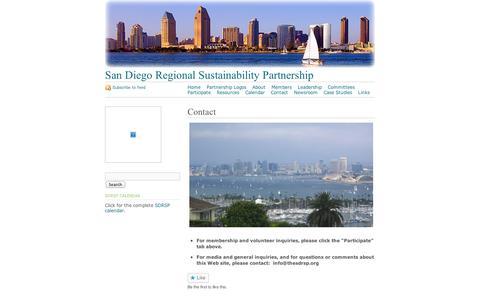Screenshot of Contact Page wordpress.com - Contact   San Diego Regional Sustainability Partnership - captured Sept. 12, 2014