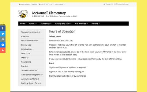 Screenshot of Hours Page huntsvillecityschools.org - Hours of Operation | McDonnell Elementary | Huntsville City Schools - captured Dec. 16, 2017