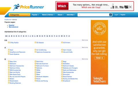 Screenshot of Site Map Page pricerunner.co.uk - Compare Prices and Find Best Deals Online - PriceRunner UK - captured Sept. 18, 2014