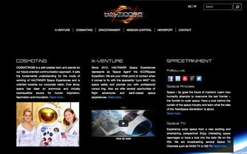 Screenshot of Home Page space-experiences.com - HALTINNER Space Experiences - captured Oct. 1, 2014
