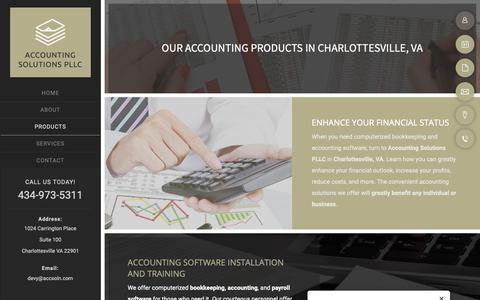 Screenshot of Products Page accsoln.com - Accounting | Charlottesville, VA | Accounting Solutions PLLC - captured Oct. 2, 2018
