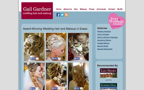 Screenshot of Home Page gailgardner.co.uk - Professional Wedding Hair And Makeup, Chelmsford, Essex. - captured Oct. 1, 2014