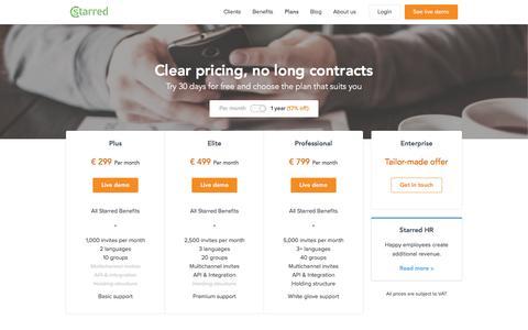 Screenshot of Pricing Page starred.com - Starred premium pricing plans - captured Nov. 16, 2016