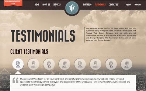 Screenshot of Testimonials Page citivine.ca - Testimonials - Citivine Web Design - captured Jan. 28, 2016