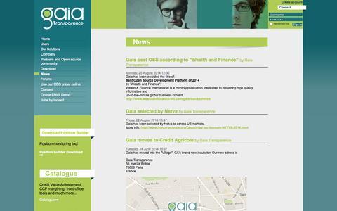 Screenshot of Press Page gaiatransparence.com - News - captured Sept. 30, 2014