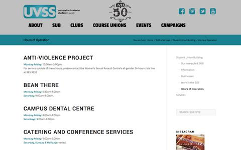 Screenshot of Hours Page uvss.ca - Hours of Operation - UVSS - University of Victoria Students' Society - captured Oct. 26, 2014