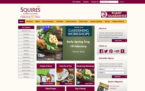 Screenshot of Home Page squiresgardencentres.co.uk - Garden centres across West London, Surrey, Berkshire and Sussex - captured Feb. 5, 2016
