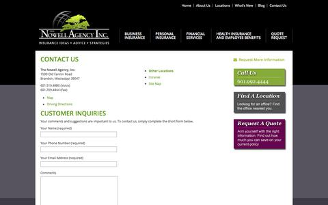 Screenshot of Contact Page nowellagency.com - Insurance Brandon, Business Insurance Agency, Contact The Nowell Agency - captured Oct. 23, 2017