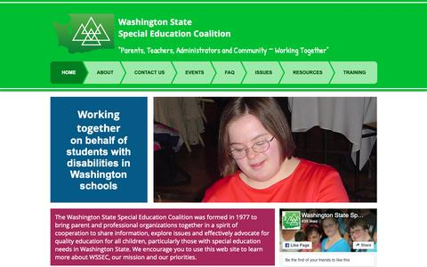 Screenshot of Home Page wssec.org - Washington State Special Education Coalition - captured Oct. 31, 2018