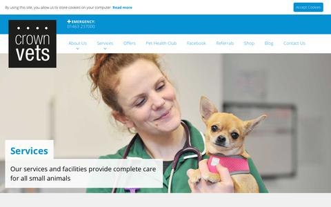 Screenshot of Services Page crownvets.co.uk - Vet Services in Inverness | Your Local Vets - Crown Vets - captured July 23, 2018