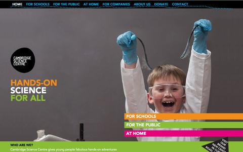 Screenshot of Home Page cambridgesciencecentre.org - Cambridge Science Centre | Interactive science for a curious community - captured July 15, 2018