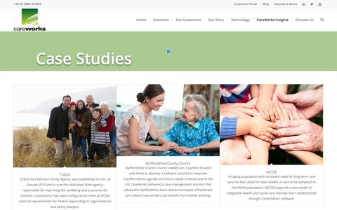 Screenshot of Case Studies Page careworks.co.uk - CareWorks health care case studies and success stories. - captured May 14, 2017