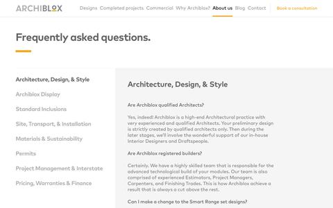 Screenshot of FAQ Page archiblox.com.au - FAQ - captured Oct. 4, 2018