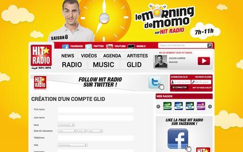 Screenshot of Signup Page hitradio.ma - Signup - HIT RADIO - captured Sept. 19, 2014