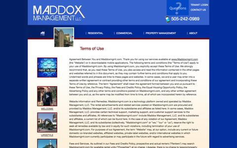 Screenshot of Terms Page maddoxmgmt.com - Terms of Use | Maddox Property Management Albuquerque - (505) 242-0989 - 515 Central Ave. NE, Suite 200 Albuquerque, NM 87102 - captured Oct. 4, 2014