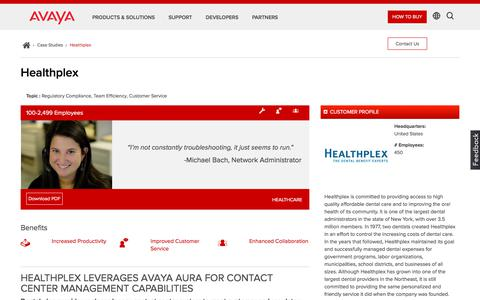 Screenshot of Case Studies Page avaya.com - Avaya Aura Call Center Elite Case Study – Healthplex – Avaya - captured Aug. 11, 2018
