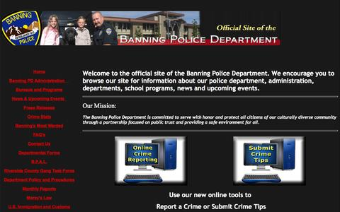 Screenshot of Home Page banningpolice.org - The Official Site of the Banning Police Department - captured Sept. 10, 2015