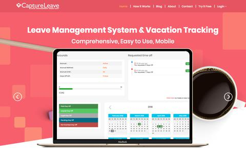 Screenshot of Home Page captureleave.com - Leave Management Software | Employee Vacation Tracking System | CaptureLeave - captured Sept. 25, 2018
