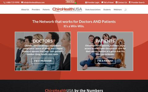 Screenshot of Home Page chirohealthusa.com - ChiroHealthUSA   The Network That Works for Chiropractic! - captured March 23, 2016