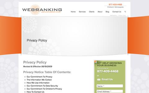 Screenshot of Privacy Page webranking.com - Privacy Policy | WebRanking - captured Sept. 20, 2018