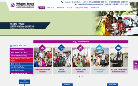 Screenshot of About Page universalsompo.com - Welcome to Universal Sompo - Home - captured Aug. 14, 2015