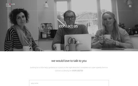 Screenshot of Contact Page cloudtengroup.co.uk - Cloud Ten | Creative Branding Agency |Hampshire - captured Dec. 9, 2015