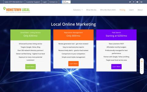 Screenshot of Pricing Page hometownlocal.com - Pricing for HometownLocal - Local Online Marketing - captured Oct. 27, 2018