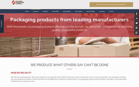 Screenshot of Products Page pdachain.com - Packaging Products | Packaging Distributors of America - captured Sept. 25, 2018