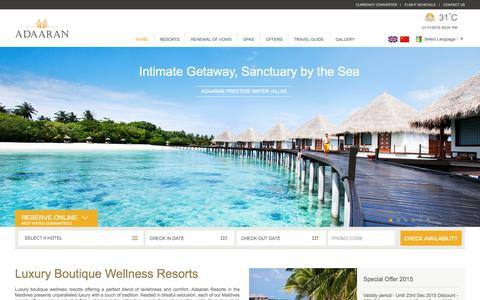 Screenshot of Home Page adaaran.com - Maldives Resorts | Adaaran Resorts Maldives Official Site - captured Nov. 1, 2015
