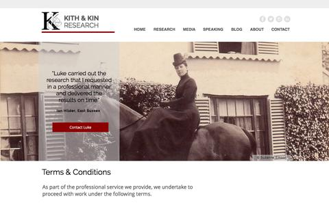 Screenshot of Terms Page kithandkinresearch.co.uk - Professional Family History Research | Dorset | Kith and Kin Research | TERMS & CONDITIONS - captured Oct. 17, 2017