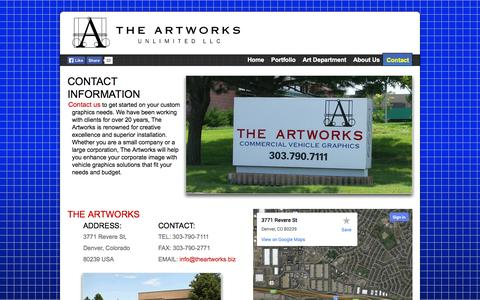 Screenshot of Contact Page theartworks.biz - Contact Us - The Artworks Unlimited, LLC - captured Oct. 26, 2014