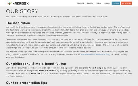 Screenshot of About Page haikudeck.com - Presentation Software | Online Presentation Tools | Haiku Deck - captured Jan. 7, 2017