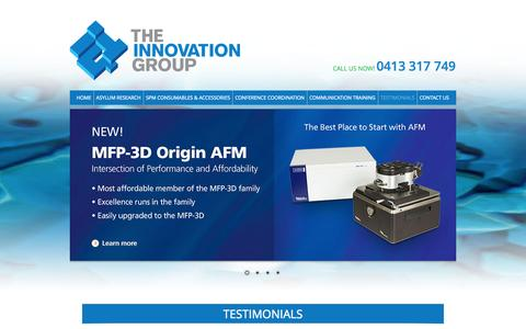 Screenshot of Testimonials Page innovationgroup.com.au - The Innovation Group - Testimonials - captured Oct. 6, 2014