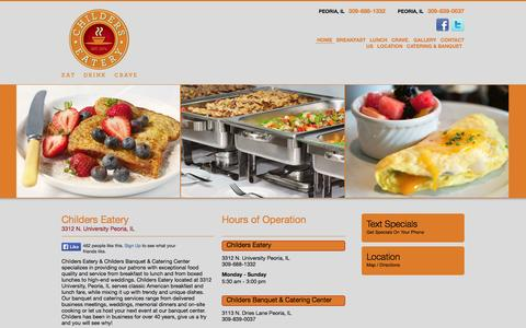 Screenshot of Home Page childerseatery.com - Childers Eatery and Childers Banquet & Catering Center | Eat.Drink.Crave. | Over 40+ Years in Business, Try Us and You'll Know Why! - captured Sept. 29, 2014