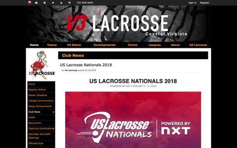 Screenshot of Press Page v3lax.com - V3 Lacrosse News - captured Nov. 15, 2018