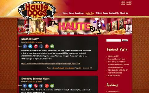 Screenshot of Blog hautedogsandfries.com - Haute Blog | Haute Dogs & Fries | The Best Hot Dogs In Virginia | Purcellville & Alexandria Restaurants - captured Oct. 2, 2014