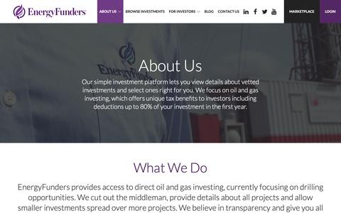 Screenshot of About Page energyfunders.com - About Us: Our Oil and Gas Investing Platform | EnergyFunders - captured Nov. 10, 2018