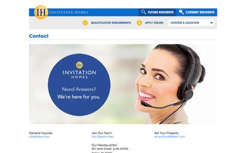 Screenshot of Contact Page invitationhomes.com - Contact Invitation Homes - captured Oct. 1, 2015