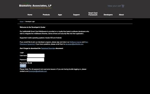 Screenshot of Developers Page biometricassociates.com - Developer Login «  Biometric Associates, LP - captured Sept. 13, 2014