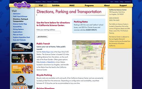 Screenshot of Maps & Directions Page californiasciencecenter.org - Directions, Parking and Transportation | California Science Center - captured May 13, 2017