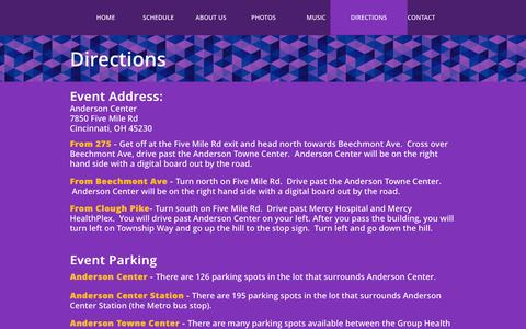 Screenshot of Maps & Directions Page andersonpartyontheplaza.com - Party on the Plaza - Directions page lists the event address and gives general directions and parking information - captured Jan. 27, 2017