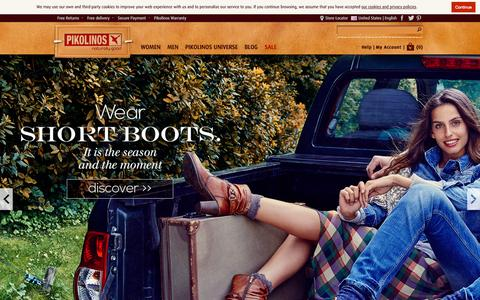 Screenshot of Home Page pikolinos.com - Official Pikolinos online store: shoes and boots for men and women - captured Oct. 31, 2015