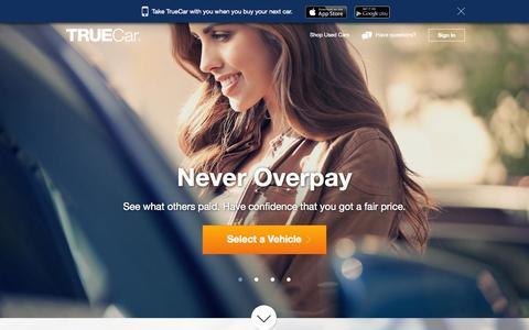 Screenshot of Home Page truecar.com - TrueCar - captured Oct. 10, 2014