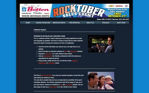 Screenshot of Support Page bettengm.com - Customer Service Department from Betten Chevrolet-Cadillac-GMC - captured Oct. 5, 2014