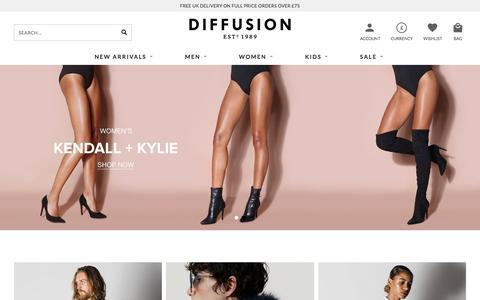 Screenshot of Home Page diffusiononline.co.uk - Designer Clothing for Men & Women | Diffusion - captured Oct. 12, 2017
