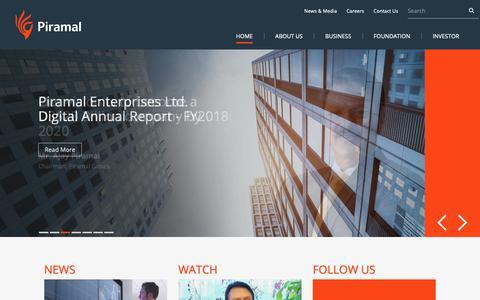 Screenshot of Home Page piramal.com - Piramal - captured Sept. 28, 2018