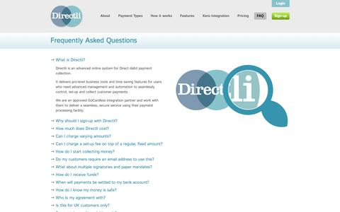 Screenshot of FAQ Page directli.co.uk - Frequently Asked Questions about Directli and GoCardless •• Directli online Direct Debit processing - captured Sept. 25, 2014
